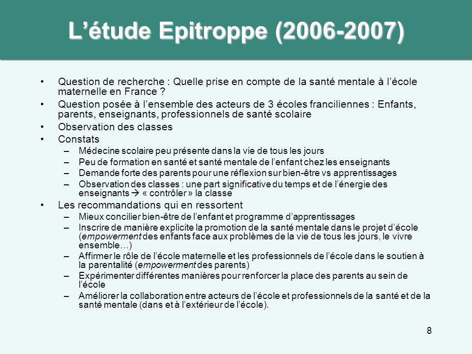 8 L'étude Epitroppe (2006-2007) Question de recherche : Quelle prise en compte de la santé mentale à l'école maternelle en France ? Question posée à l