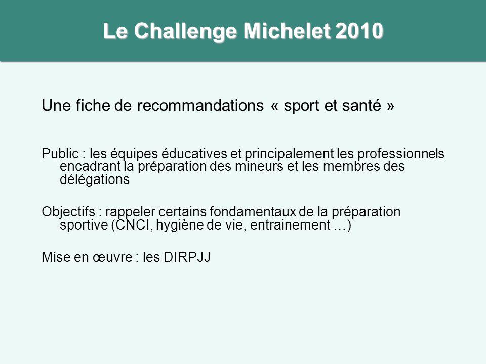 Une fiche de recommandations « sport et santé » Public : les équipes éducatives et principalement les professionnels encadrant la préparation des mine