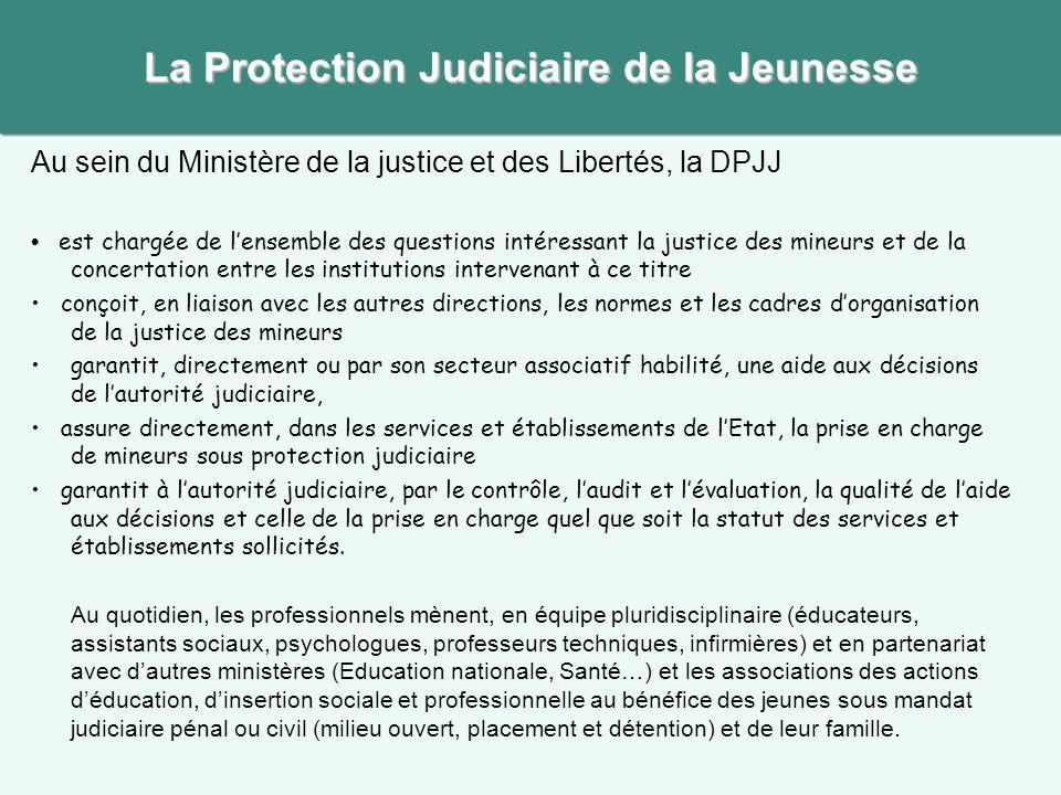La Protection Judiciaire de la Jeunesse Au sein du Ministère de la justice et des Libertés, la DPJJ est chargée de l'ensemble des questions intéressan
