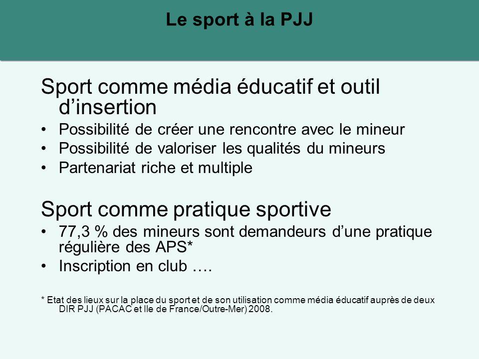 Sport comme média éducatif et outil d'insertion Possibilité de créer une rencontre avec le mineur Possibilité de valoriser les qualités du mineurs Par