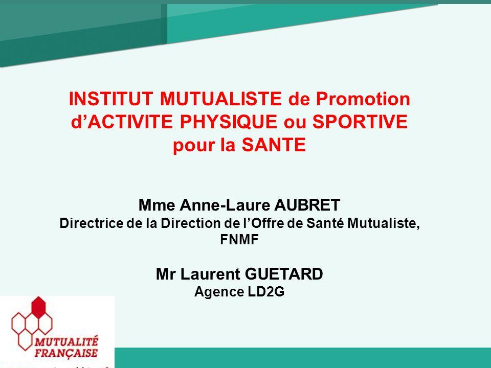 INSTITUT MUTUALISTE de Promotion d'ACTIVITE PHYSIQUE ou SPORTIVE pour la SANTE Mme Anne-Laure AUBRET Directrice de la Direction de l'Offre de Santé Mutualiste, FNMF Mr Laurent GUETARD Agence LD2G