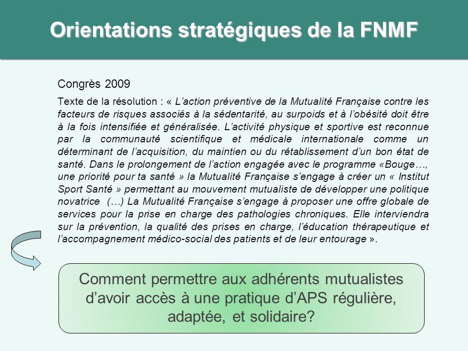 Congrès 2009 Texte de la résolution : « L'action préventive de la Mutualité Française contre les facteurs de risques associés à la sédentarité, au sur