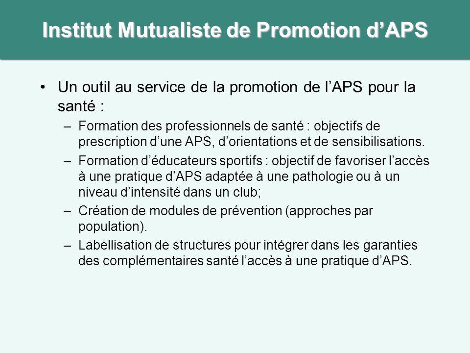 Un outil au service de la promotion de l'APS pour la santé : –Formation des professionnels de santé : objectifs de prescription d'une APS, d'orientations et de sensibilisations.