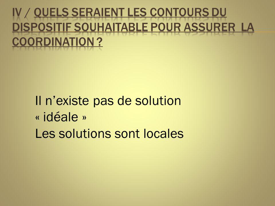 Il n'existe pas de solution « idéale » Les solutions sont locales