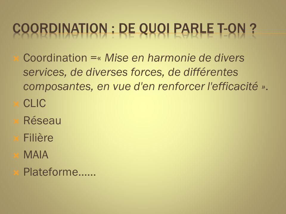  Coordination =« Mise en harmonie de divers services, de diverses forces, de différentes composantes, en vue d'en renforcer l'efficacité ».  CLIC 