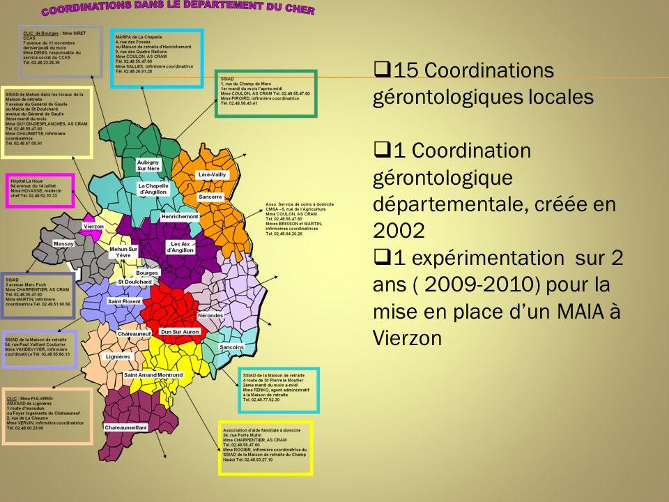  15 Coordinations gérontologiques locales  1 Coordination gérontologique départementale, créée en 2002  1 expérimentation sur 2 ans ( 2009-2010) po