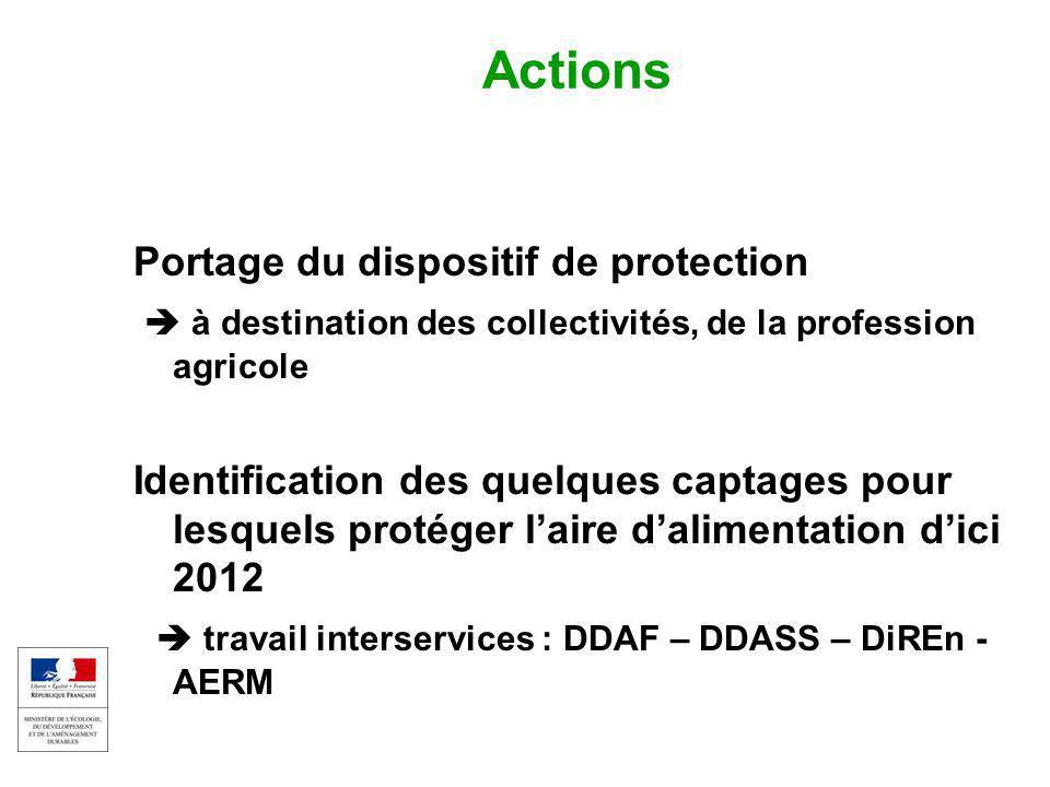 EAU ET MILIEUX AQUATIQUES 8 Colloque captages et phytos 17 sept 2009 Actions Portage du dispositif de protection  à destination des collectivités, de