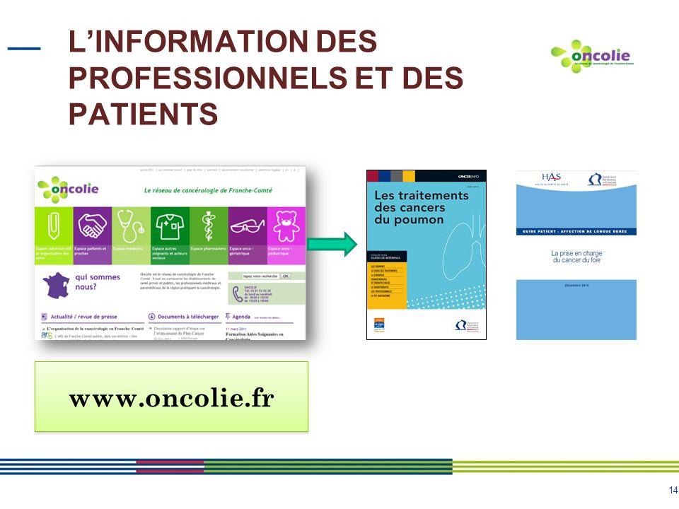 14 L'INFORMATION DES PROFESSIONNELS ET DES PATIENTS www.oncolie.fr