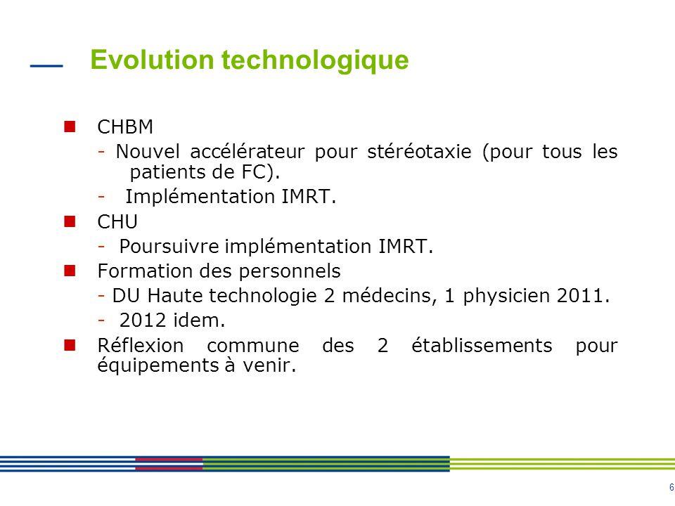 6 Evolution technologique CHBM - Nouvel accélérateur pour stéréotaxie (pour tous les patients de FC).
