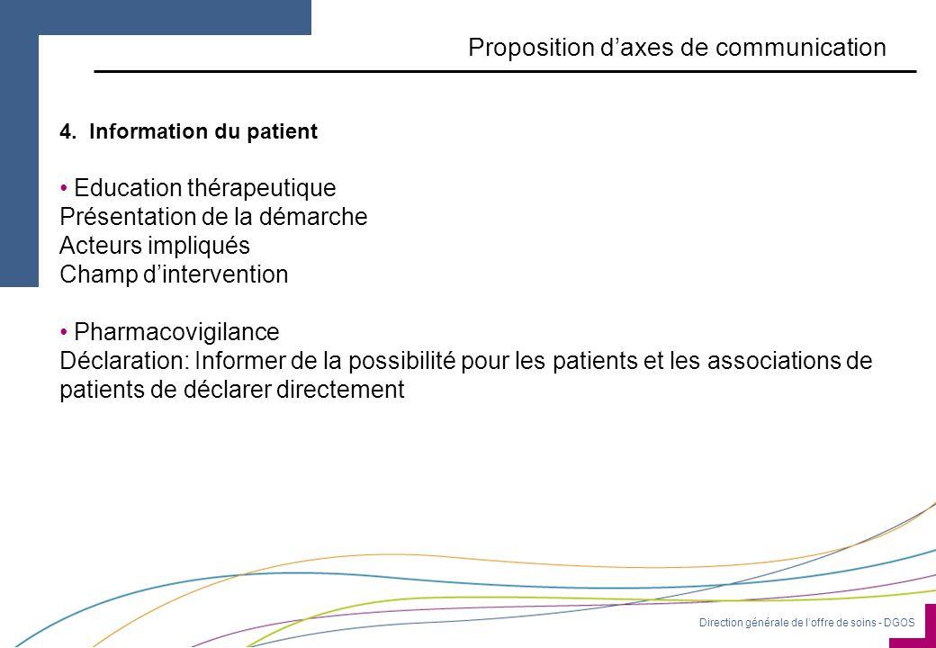 Direction générale de l'offre de soins - DGOS Proposition d'axes de communication 4.