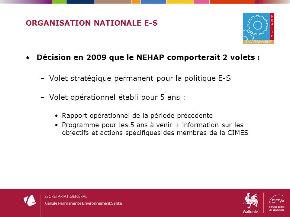 Cellule Permanente Environnement Santé ORGANISATION NATIONALE E-S Décision en 2009 que le NEHAP comporterait 2 volets : –Volet stratégique permanent p