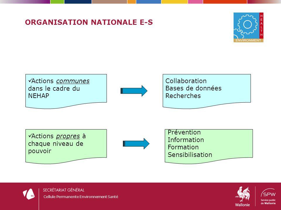 Cellule Permanente Environnement Santé ORGANISATION NATIONALE E-S Actions communes dans le cadre du NEHAP Actions propres à chaque niveau de pouvoir C