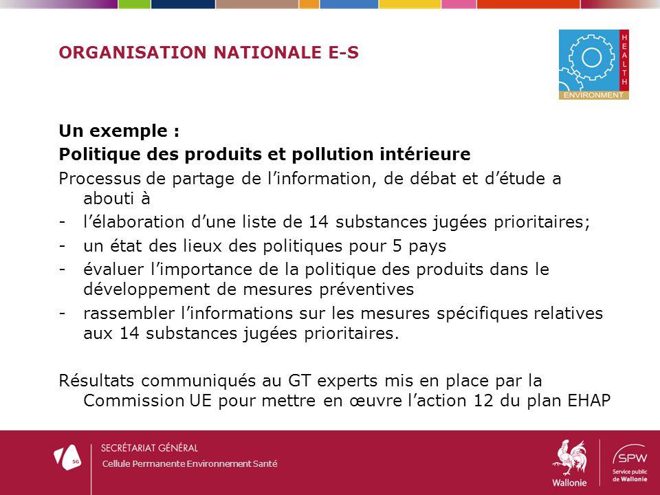 Cellule Permanente Environnement Santé ORGANISATION NATIONALE E-S Un exemple : Politique des produits et pollution intérieure Processus de partage de
