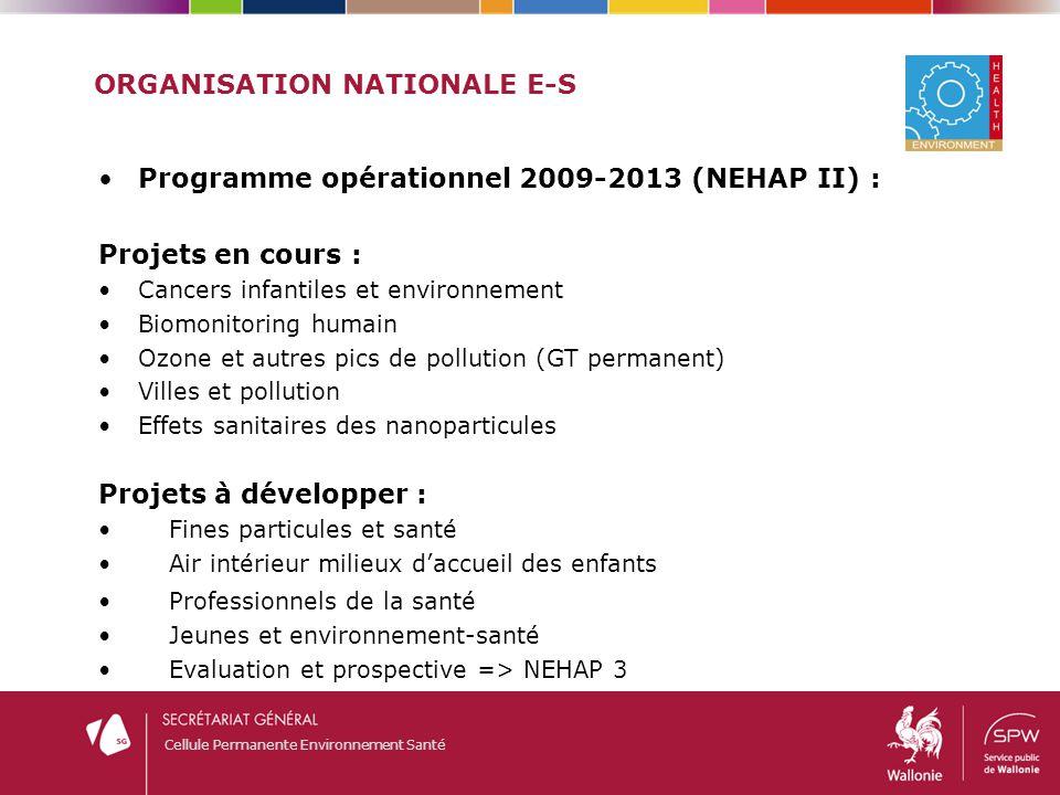 Cellule Permanente Environnement Santé ORGANISATION NATIONALE E-S Programme opérationnel 2009-2013 (NEHAP II) : Projets en cours : Cancers infantiles