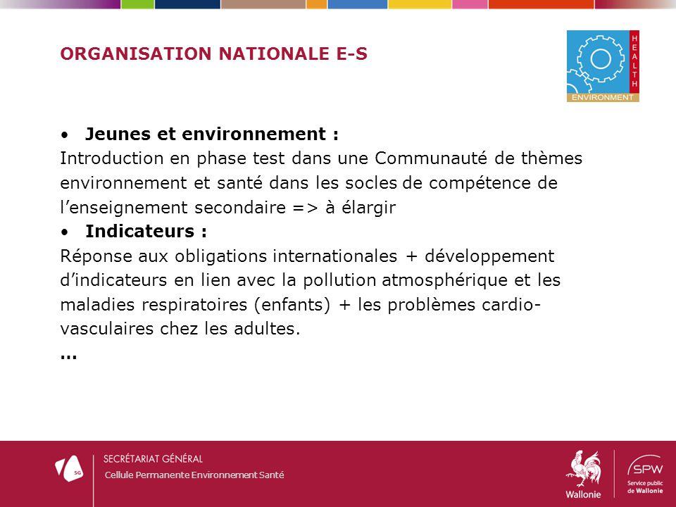 Cellule Permanente Environnement Santé ORGANISATION NATIONALE E-S Jeunes et environnement : Introduction en phase test dans une Communauté de thèmes e