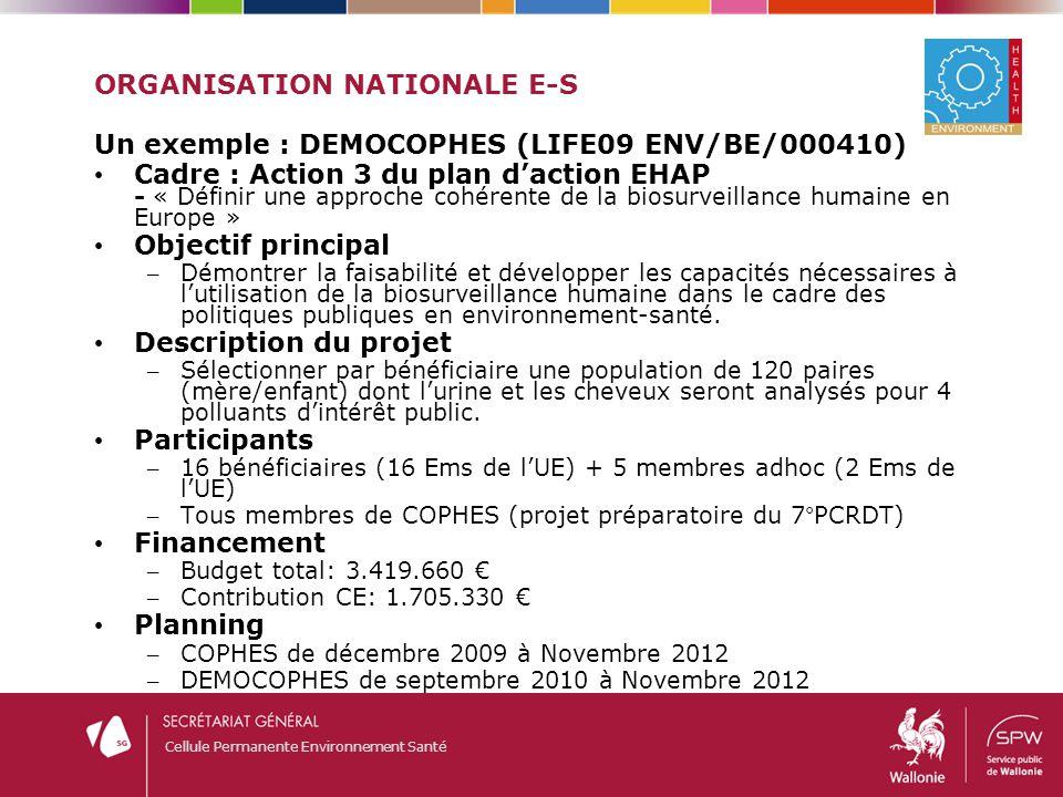 Cellule Permanente Environnement Santé ORGANISATION NATIONALE E-S Un exemple : DEMOCOPHES (LIFE09 ENV/BE/000410) Cadre : Action 3 du plan d'action EHA