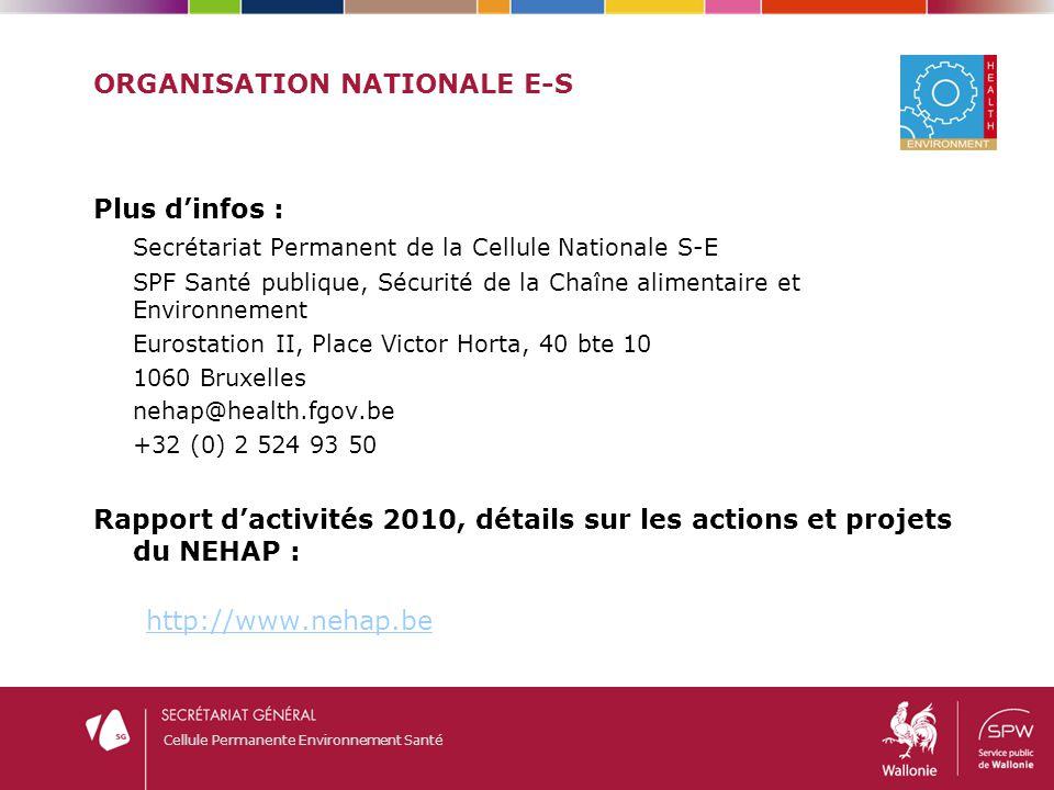 Cellule Permanente Environnement Santé ORGANISATION NATIONALE E-S Plus d'infos : Secrétariat Permanent de la Cellule Nationale S-E SPF Santé publique,