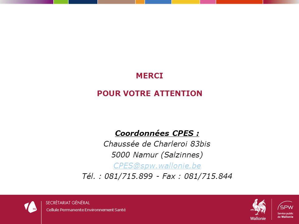 Cellule Permanente Environnement Santé MERCI POUR VOTRE ATTENTION Coordonnées CPES : Chaussée de Charleroi 83bis 5000 Namur (Salzinnes) CPES@spw.wallo