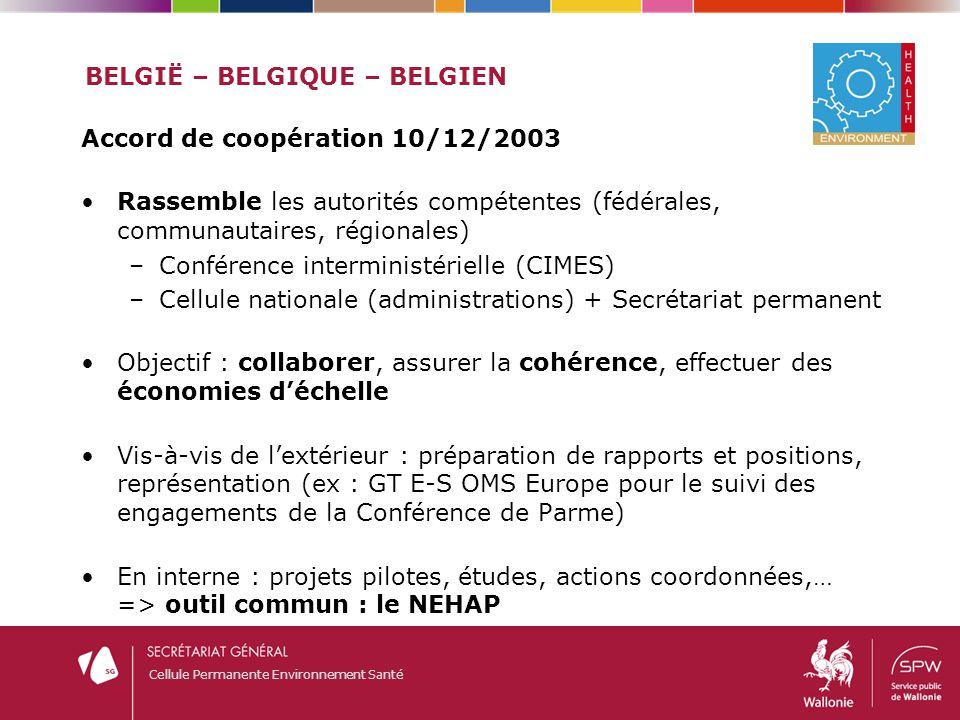 Cellule Permanente Environnement Santé BELGIË – BELGIQUE – BELGIEN Accord de coopération 10/12/2003 Rassemble les autorités compétentes (fédérales, co