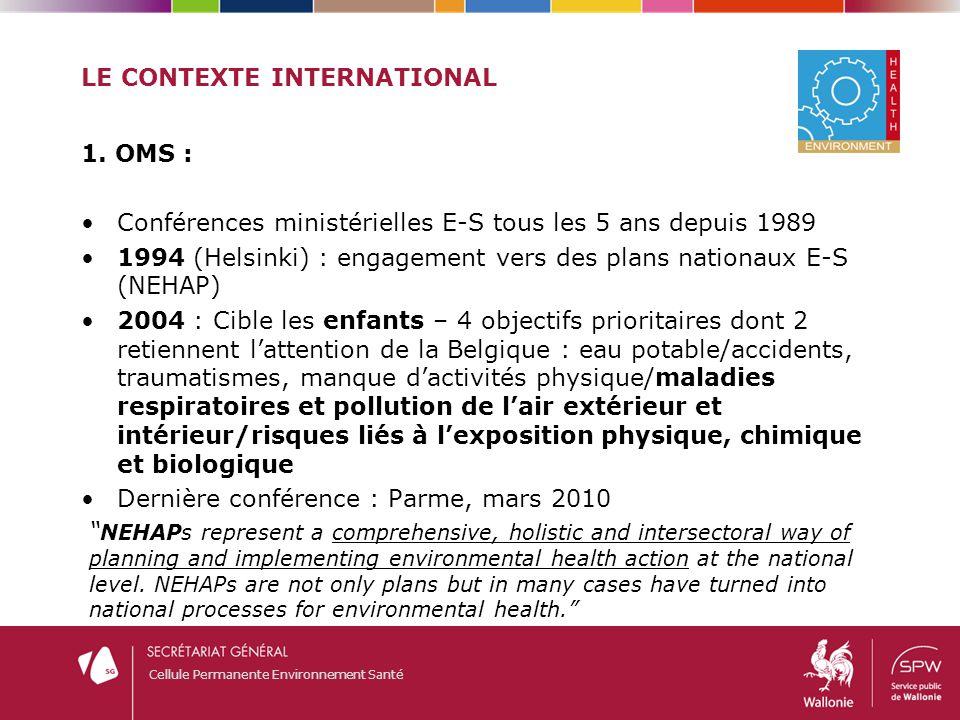 Cellule Permanente Environnement Santé LE CONTEXTE INTERNATIONAL 1. OMS : Conférences ministérielles E-S tous les 5 ans depuis 1989 1994 (Helsinki) :