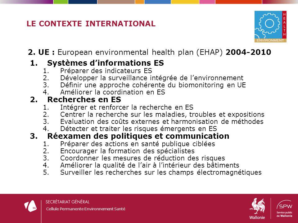 Cellule Permanente Environnement Santé ORGANISATION NATIONALE E-S Un exemple : DEMOCOPHES (LIFE09 ENV/BE/000410) Cadre : Action 3 du plan d'action EHAP - « Définir une approche cohérente de la biosurveillance humaine en Europe » Objectif principal – Démontrer la faisabilité et développer les capacités nécessaires à l'utilisation de la biosurveillance humaine dans le cadre des politiques publiques en environnement-santé.