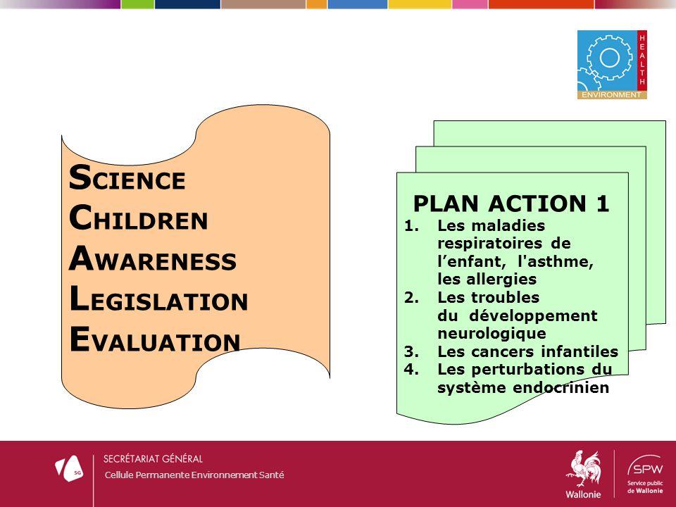 Cellule Permanente Environnement Santé S CIENCE C HILDREN A WARENESS L EGISLATION E VALUATION PLAN ACTION 1 1.Les maladies respiratoires de l'enfant,