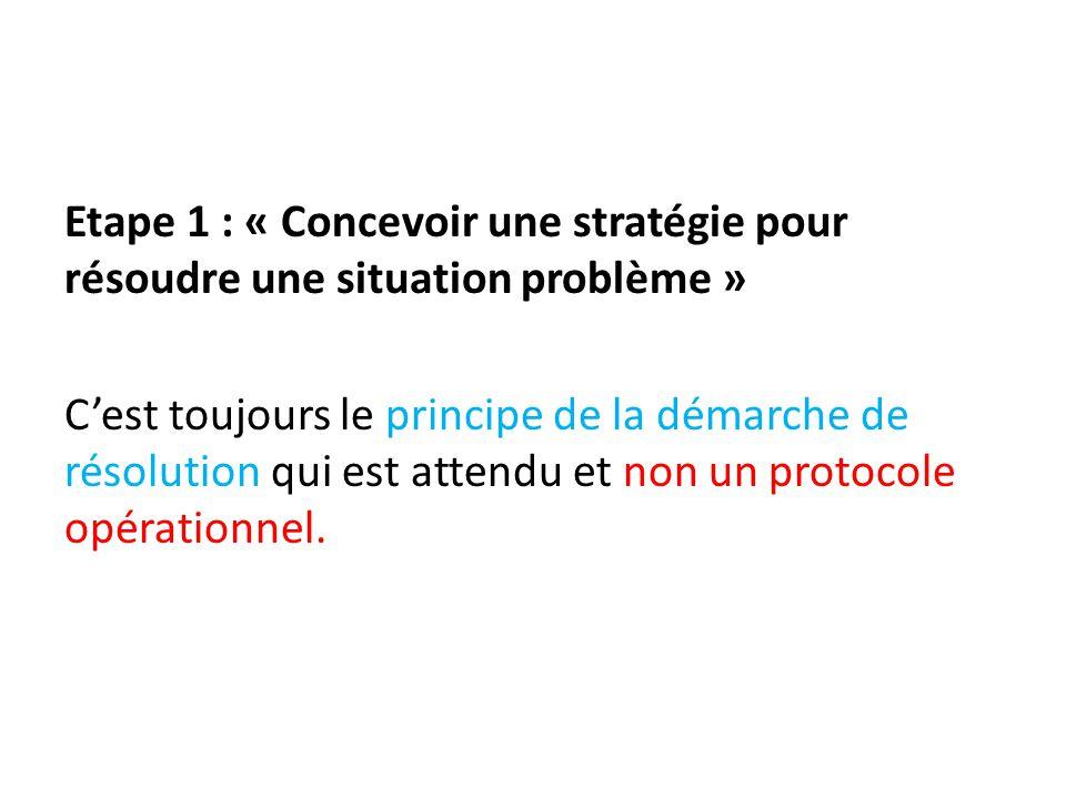 Etape 1 : « Concevoir une stratégie pour résoudre une situation problème » C'est toujours le principe de la démarche de résolution qui est attendu et