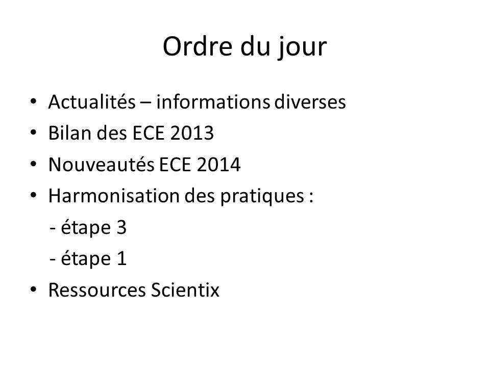 Ordre du jour Actualités – informations diverses Bilan des ECE 2013 Nouveautés ECE 2014 Harmonisation des pratiques : - étape 3 - étape 1 Ressources S