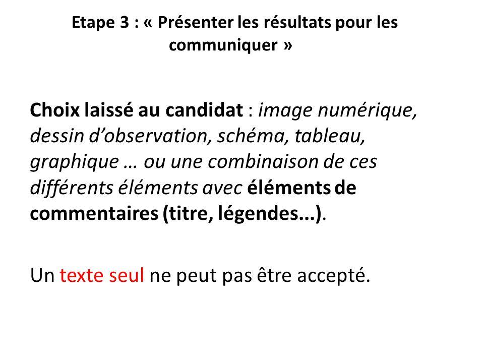Etape 3 : « Présenter les résultats pour les communiquer » Choix laissé au candidat : image numérique, dessin d'observation, schéma, tableau, graphiqu