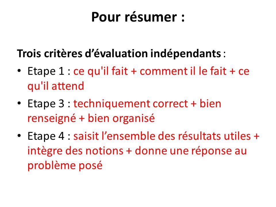 Pour résumer : Trois critères d'évaluation indépendants : Etape 1 : ce qu'il fait + comment il le fait + ce qu'il attend Etape 3 : techniquement corre