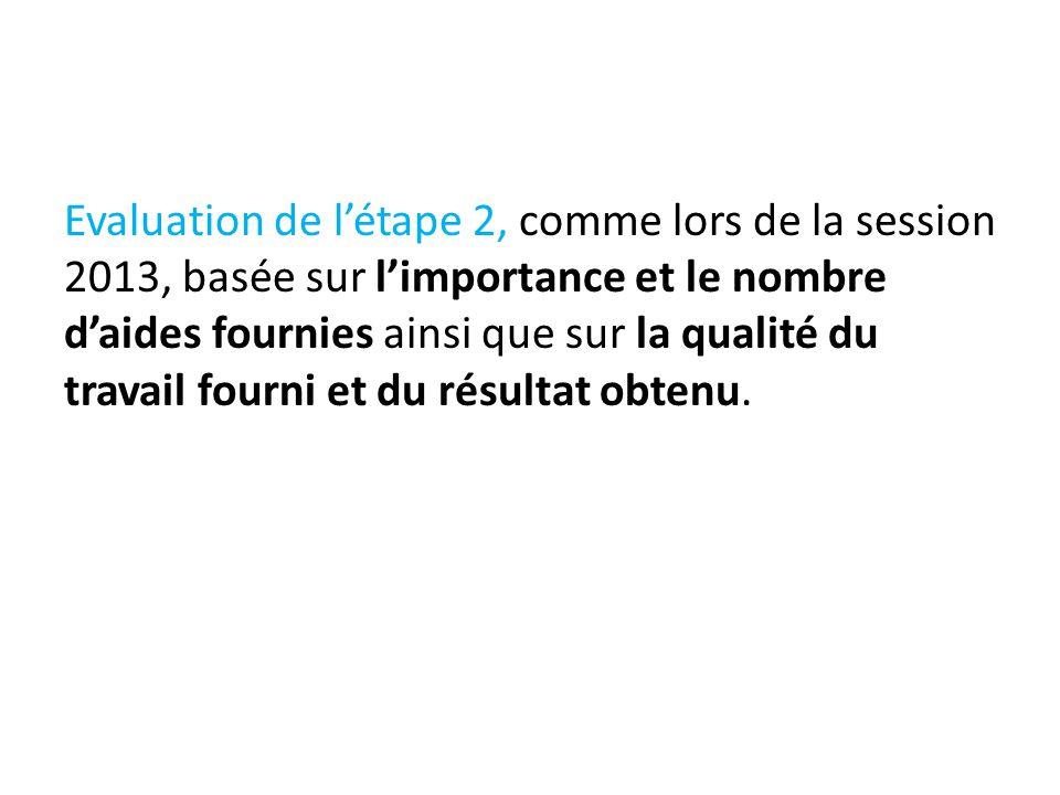 Evaluation de l'étape 2, comme lors de la session 2013, basée sur l'importance et le nombre d'aides fournies ainsi que sur la qualité du travail fourn