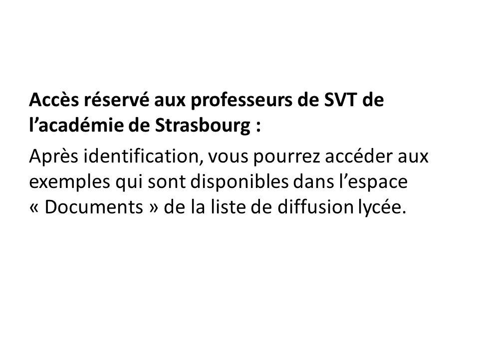 Accès réservé aux professeurs de SVT de l'académie de Strasbourg : Après identification, vous pourrez accéder aux exemples qui sont disponibles dans l