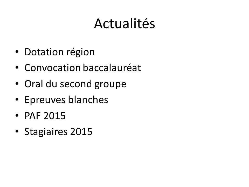 Actualités Dotation région Convocation baccalauréat Oral du second groupe Epreuves blanches PAF 2015 Stagiaires 2015