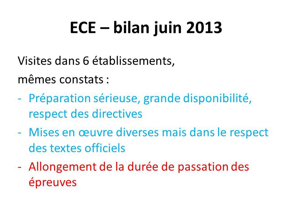 ECE – bilan juin 2013 Visites dans 6 établissements, mêmes constats : -Préparation sérieuse, grande disponibilité, respect des directives -Mises en œu
