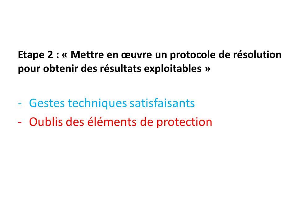 Etape 2 : « Mettre en œuvre un protocole de résolution pour obtenir des résultats exploitables » -Gestes techniques satisfaisants -Oublis des éléments