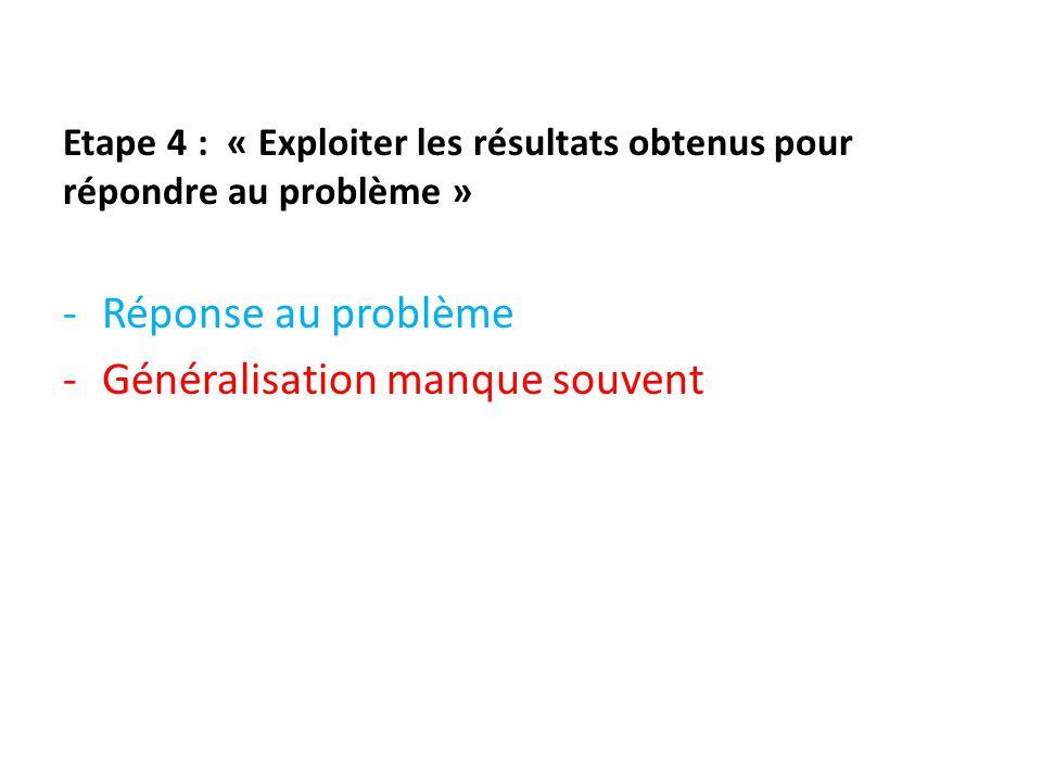 Etape 4 : « Exploiter les résultats obtenus pour répondre au problème » -Réponse au problème -Généralisation manque souvent