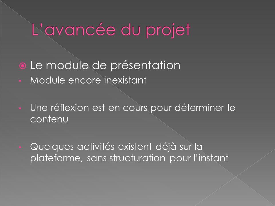  Le module de présentation Module encore inexistant Une réflexion est en cours pour déterminer le contenu Quelques activités existent déjà sur la plateforme, sans structuration pour l'instant