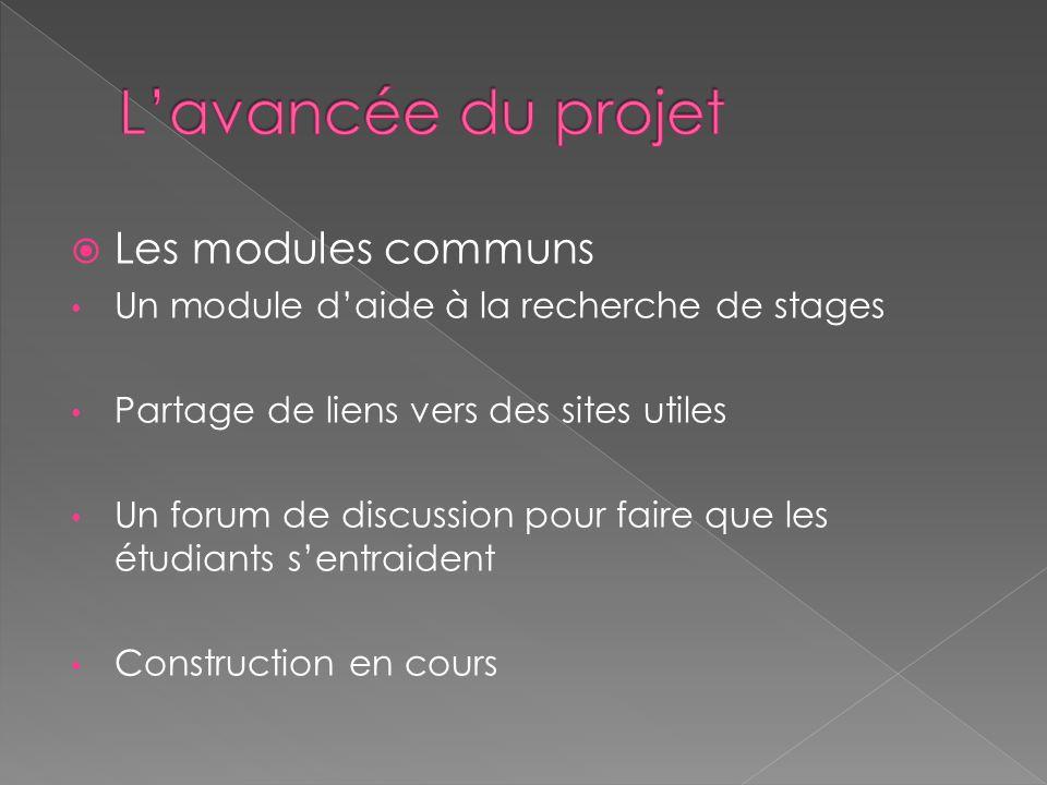  Les modules communs Un module d'aide à la recherche de stages Partage de liens vers des sites utiles Un forum de discussion pour faire que les étudiants s'entraident Construction en cours