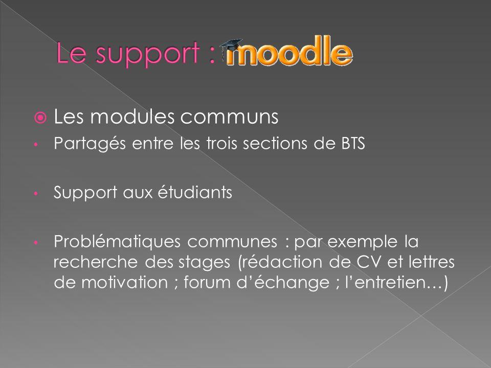  Les modules communs Partagés entre les trois sections de BTS Support aux étudiants Problématiques communes : par exemple la recherche des stages (rédaction de CV et lettres de motivation ; forum d'échange ; l'entretien…)