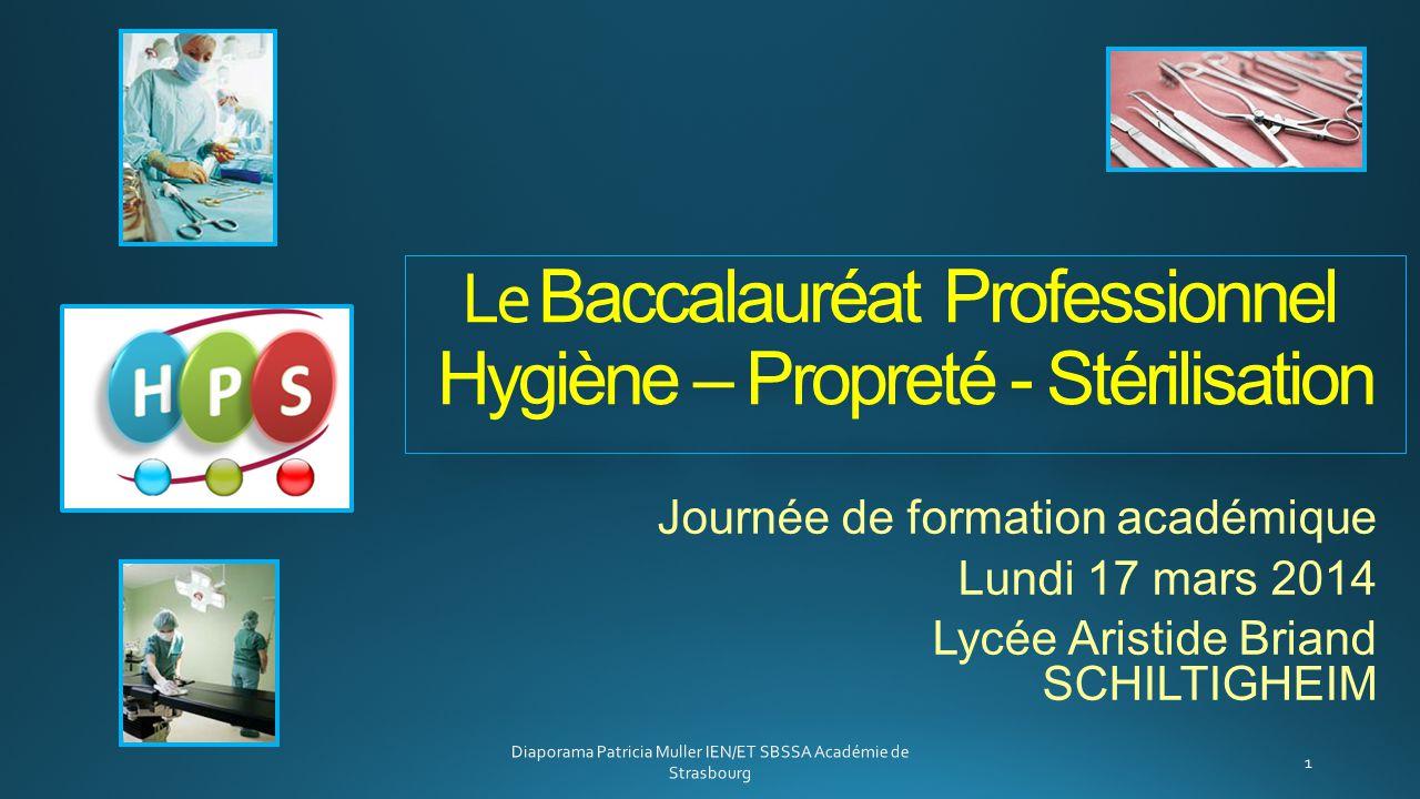 Le Baccalauréat Professionnel Hygiène – Propreté - Stérilisation Journée de formation académique Lundi 17 mars 2014 Lycée Aristide Briand SCHILTIGHEIM