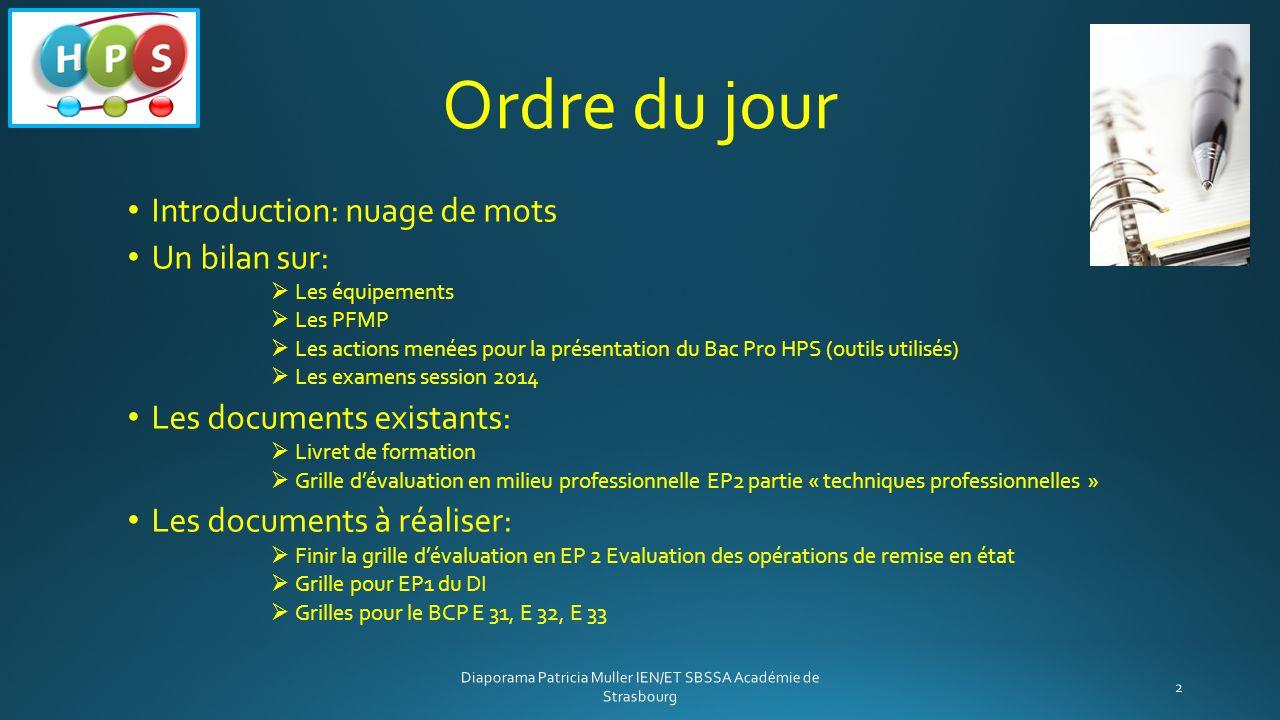 Ordre du jour Introduction: nuage de mots Un bilan sur:  Les équipements  Les PFMP  Les actions menées pour la présentation du Bac Pro HPS (outils