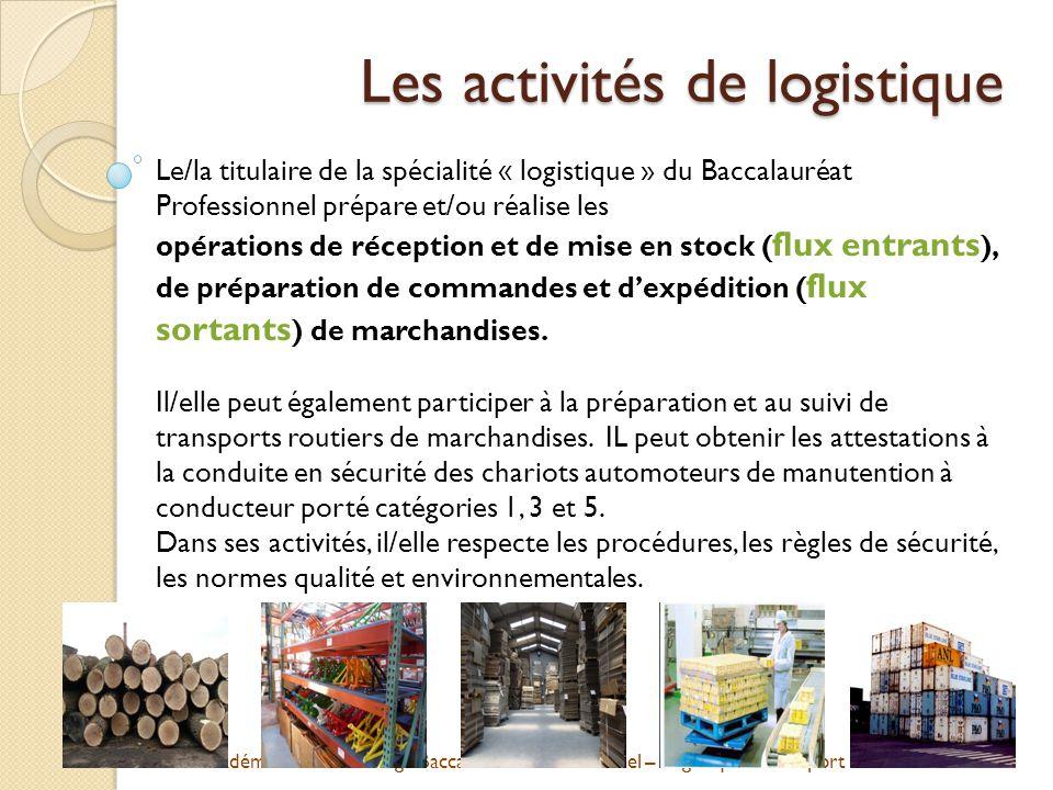 Académie de Strasbourg - Baccalauréat Professionnel – Logistique - Transport Des qualités recherchées Endurant / Endurante Le magasinier travaille debout, dans des entrepôts ou en plein air sur un quai de déchargement.
