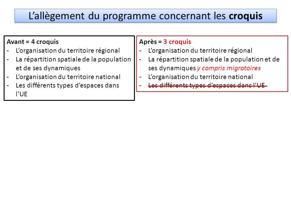 L'allègement du programme concernant les croquis Avant = 4 croquis -L'organisation du territoire régional -La répartition spatiale de la population et