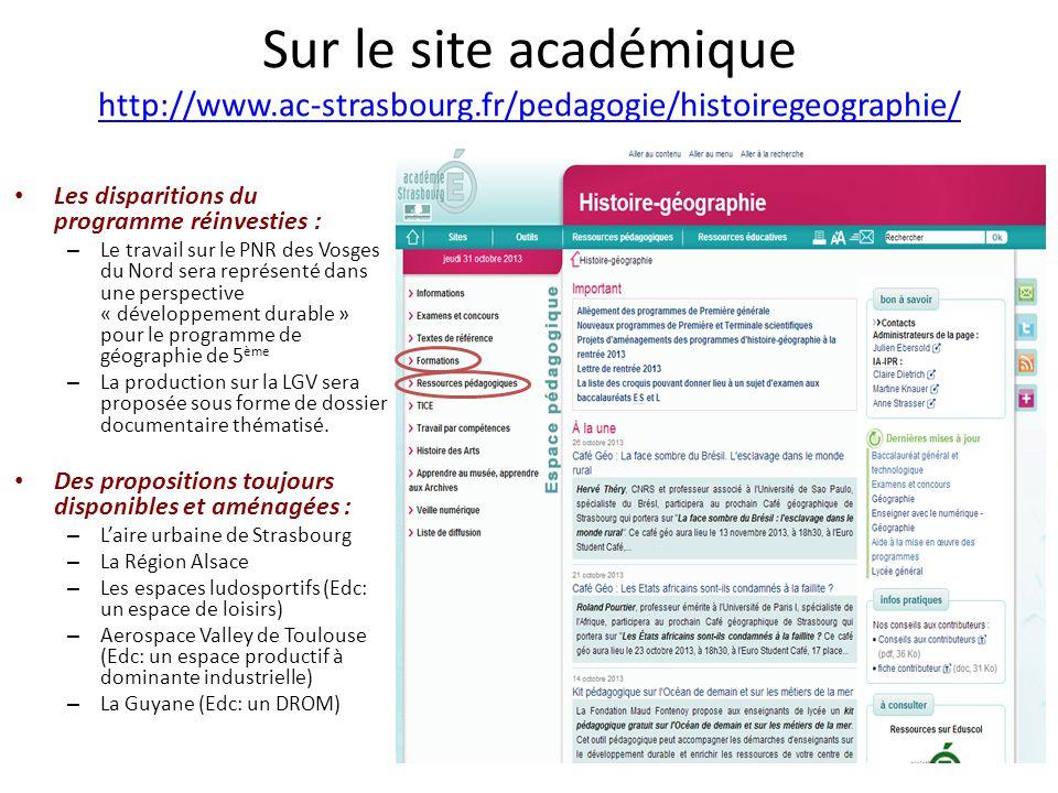 Sur le site académique http://www.ac-strasbourg.fr/pedagogie/histoiregeographie/ http://www.ac-strasbourg.fr/pedagogie/histoiregeographie/ Les dispari