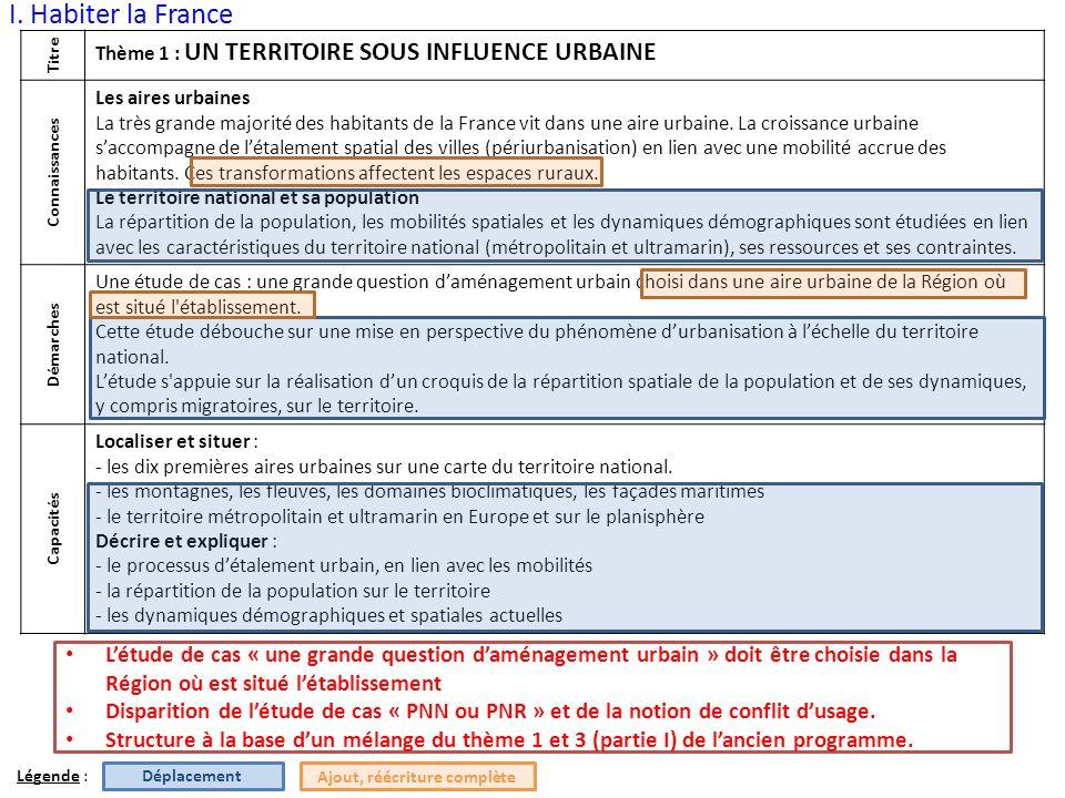 I. Habiter la France Titre Thème 1 : UN TERRITOIRE SOUS INFLUENCE URBAINE Connaissances Les aires urbaines La très grande majorité des habitants de la