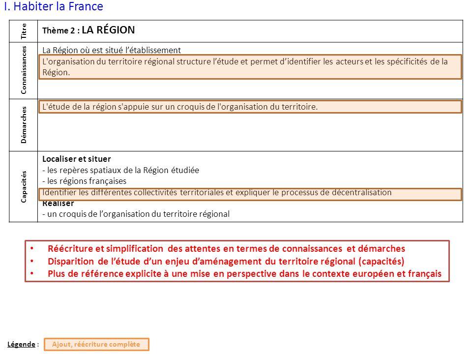 I. Habiter la France Titre Thème 2 : LA RÉGION Connaissances La Région où est situé l'établissement L'organisation du territoire régional structure l'