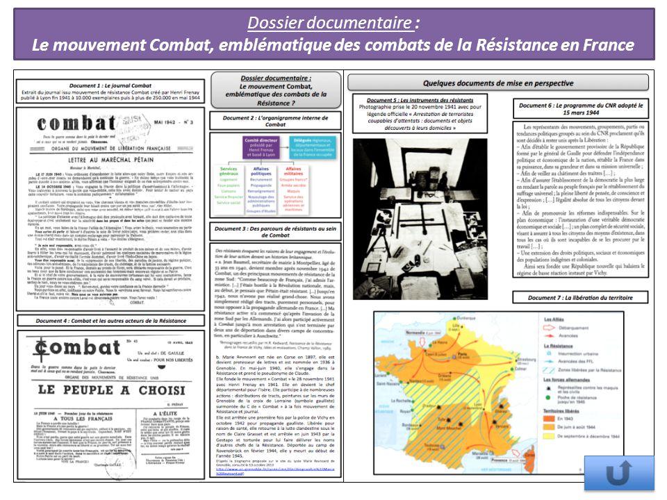 Dossier documentaire : Le mouvement Combat, emblématique des combats de la Résistance en France