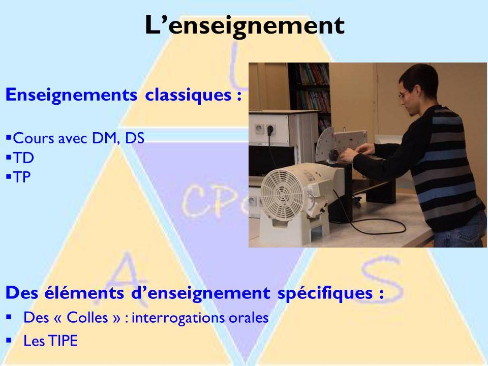 L'enseignement Des éléments d'enseignement spécifiques :  Des « Colles » : interrogations orales  Les TIPE Enseignements classiques :  Cours avec DM, DS  TD  TP
