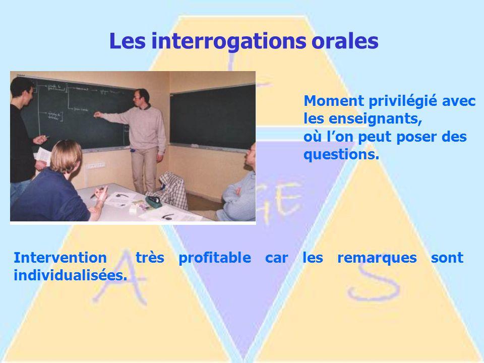 Les interrogations orales Moment privilégié avec les enseignants, où l'on peut poser des questions.