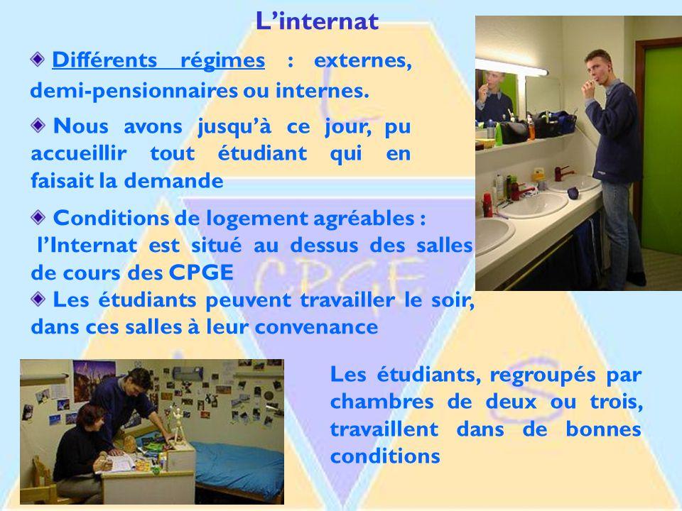 L'internat Différents régimes : externes, demi-pensionnaires ou internes.